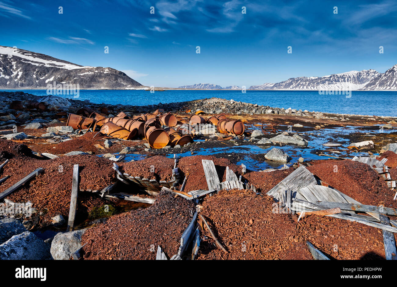 rusty remains on historical site of Virgohamna, Svalbard or Spitsbergen, Europe - Stock Image