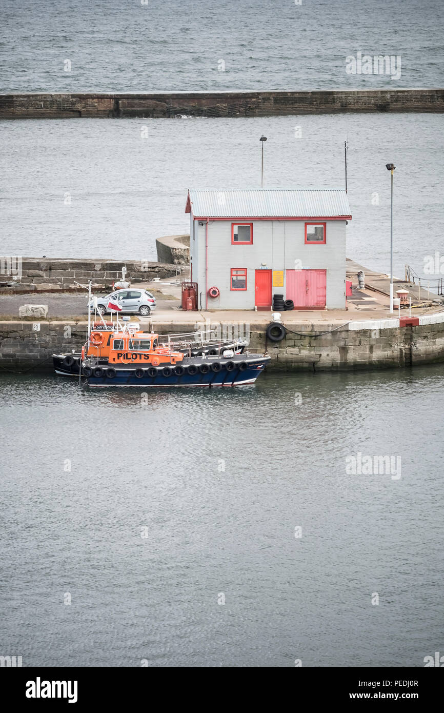 Pilot boats and Pilot station at Seaham Harbour, UK - Stock Image