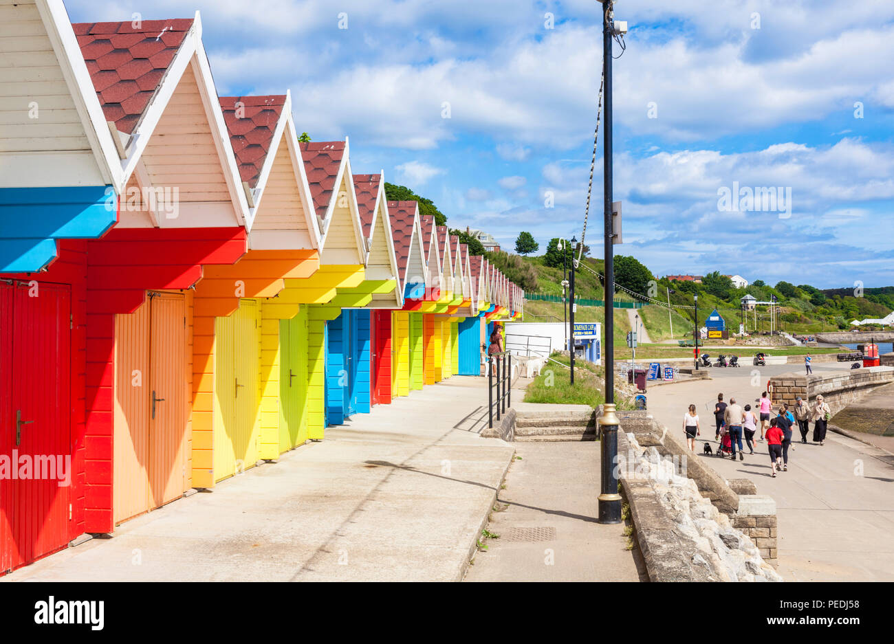 scarborough beach huts north bay scarborough yorkshire north yorkshire england scarborough uk gb europe - Stock Image