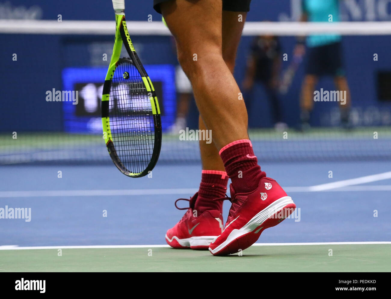 newest 5a2db 29ebb Grand Slam champion Rafael Nadal of Spain wears custom Nike tennis shoes  during US Open 2017 final match