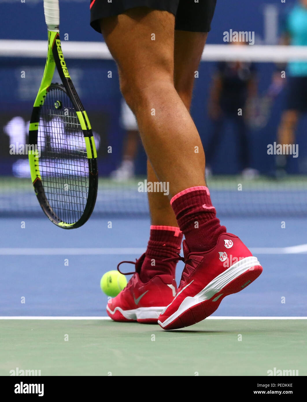 Grand Slam Champion Rafael Nadal Of Spain Wears Custom Nike Tennis Shoes During Us Open 2017 Final Match Stock Photo Alamy