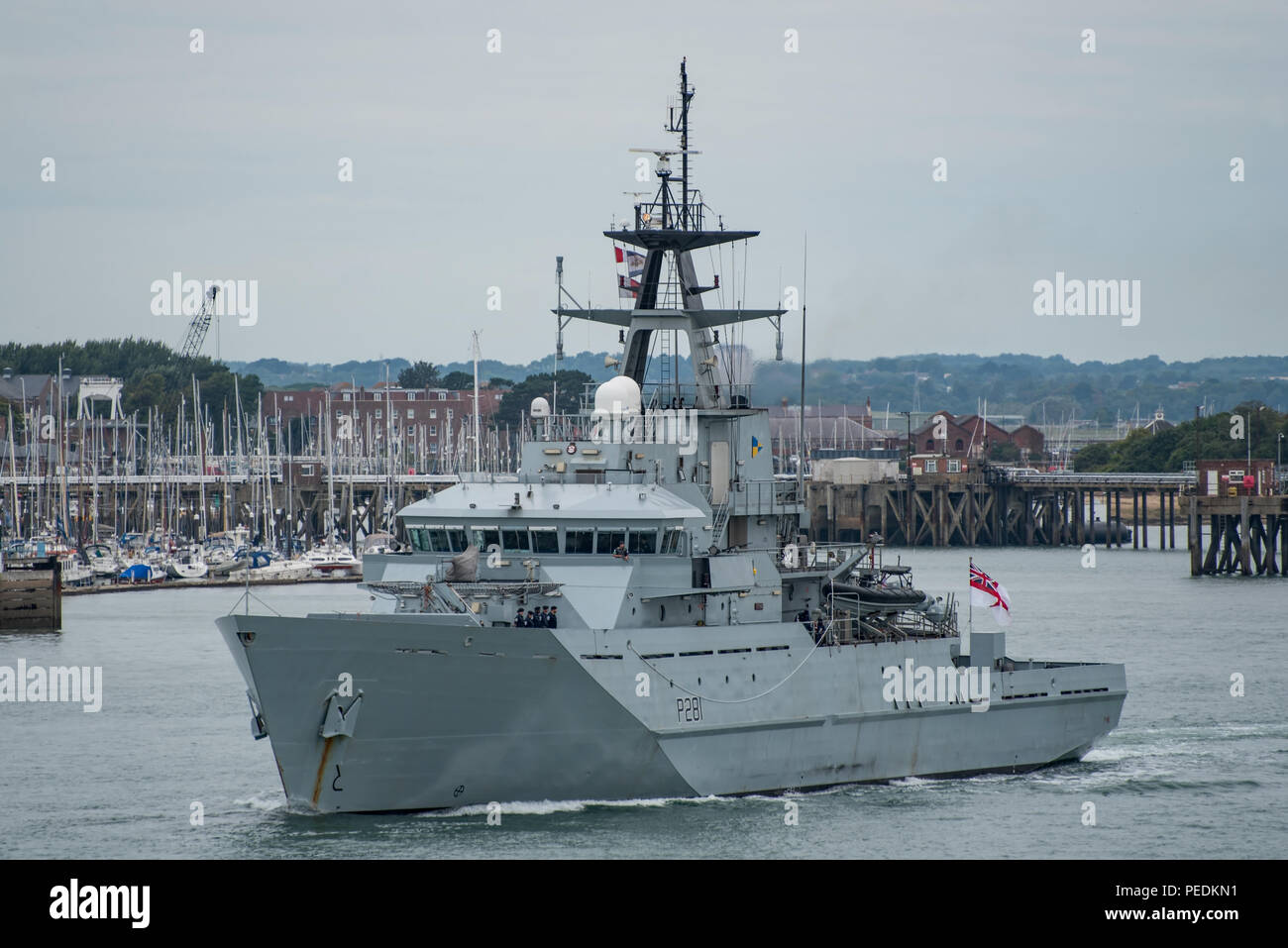 The British Royal Navy River Class (Batch 1) OPV, HMS Tyne, returned to active service at Portsmouth, UK on 14/8/18 after a short period in reserve. - Stock Image