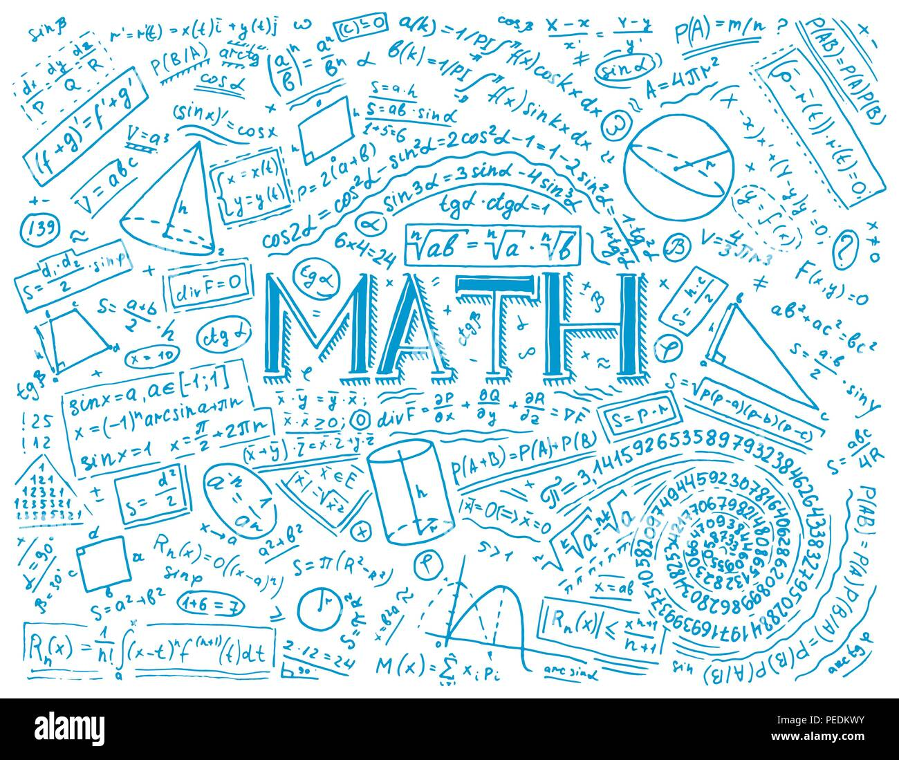 Algebra Doodle Background Stock Vector Images - Alamy