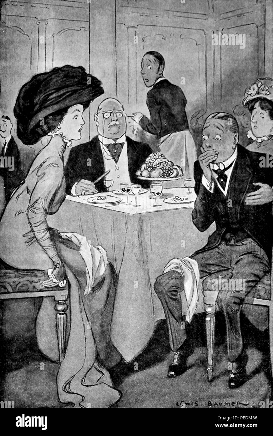 Black and white illustration, depicting a restaurant scene with a man clutching his chest and mouth following an etiquette faux pas (possibly choking after eating too quickly) while a young woman wearing an Edwardian dress and large hat, and several other patrons, looks on with distaste, illustrated by Lewis Baumer, and appearing in the volume 'Deportmental ditties: and other verses, ' published in London by Mills and Boon, 1900. Courtesy Internet Archive. () - Stock Image