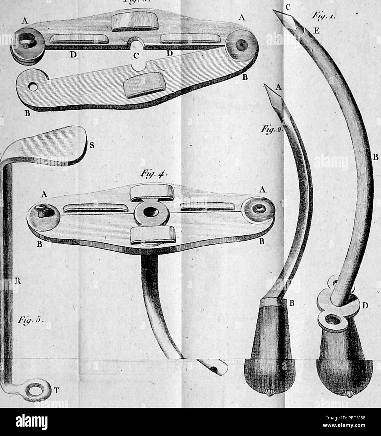 Illustration of surgical implements, 1825. Courtesy Internet Archive. () - Stock Image