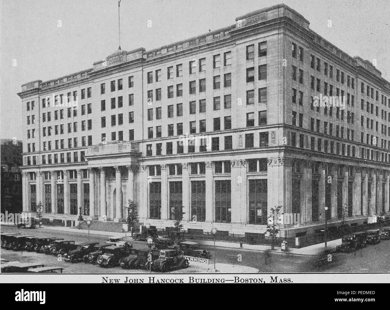 Engraving of the 'new' John Hancock Building, commonly known as the Stephen L Brown Building, Boston, Massachusetts, 1922. Courtesy Internet Archive. () - Stock Image