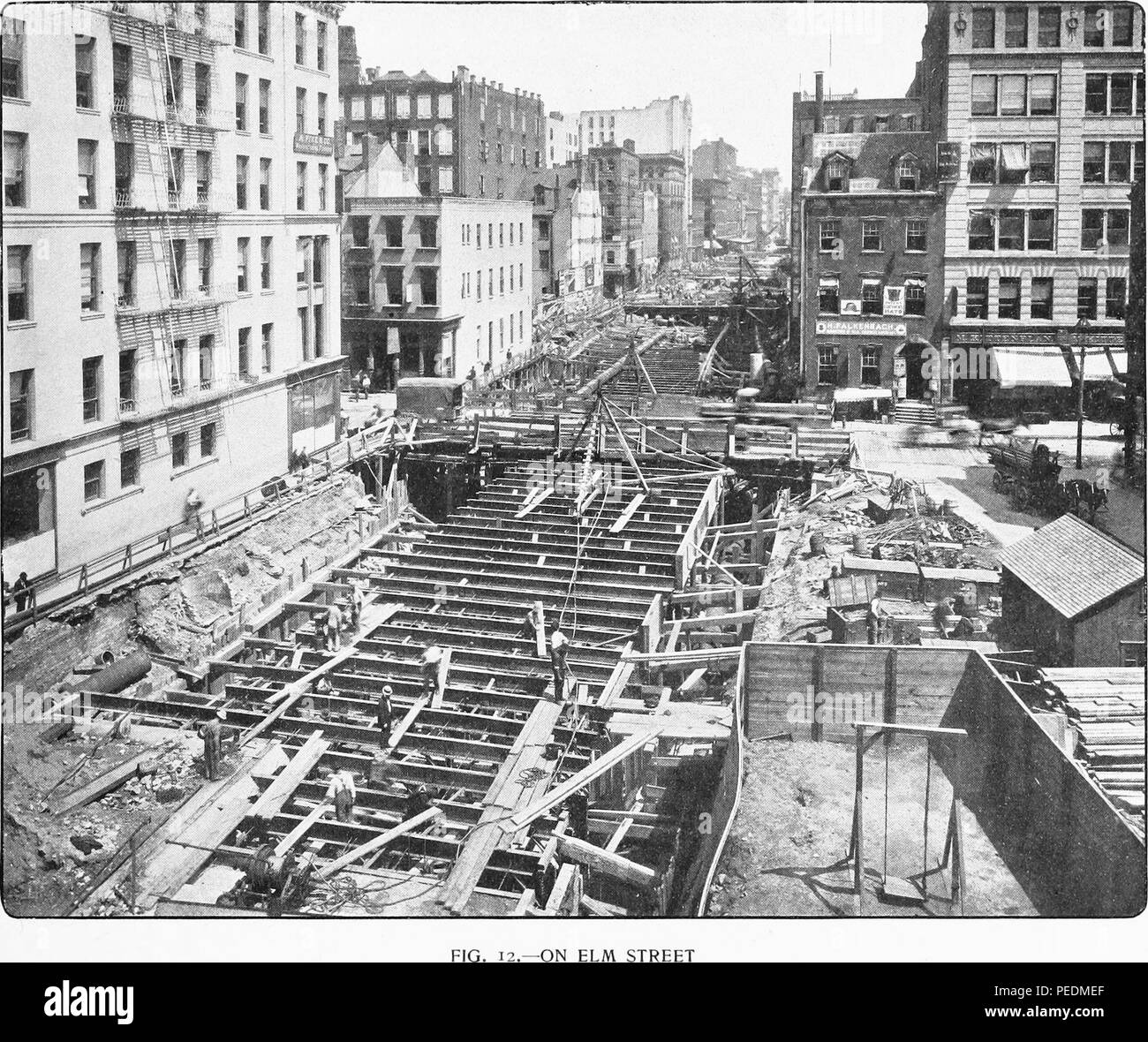 Photoengraving of construction of New York City's first subway line, along Elm Street and Lafayette Place, 1901. Courtesy Internet Archive. () - Stock Image