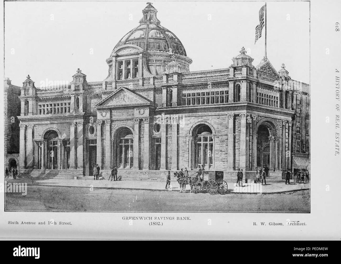 Engraving of the original Greenwich Savings Bank building at 620 6th Avenue, New York City, 1898. Courtesy Internet Archive. () - Stock Image