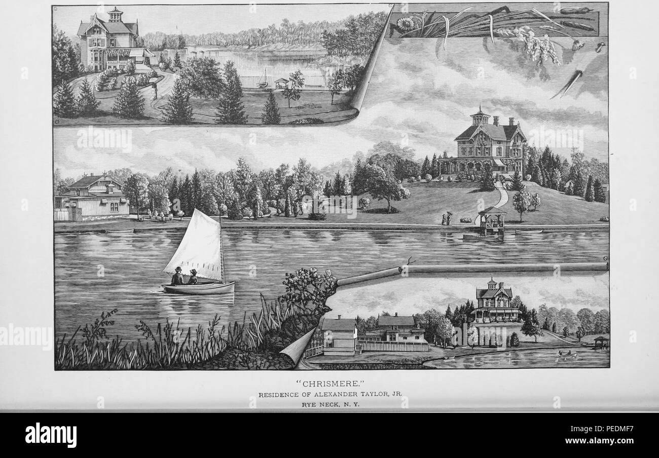 Landscape engraving of mansions and a sailing boat at Rye Neck, Long Island, New York, 1886. Courtesy Internet Archive. () - Stock Image