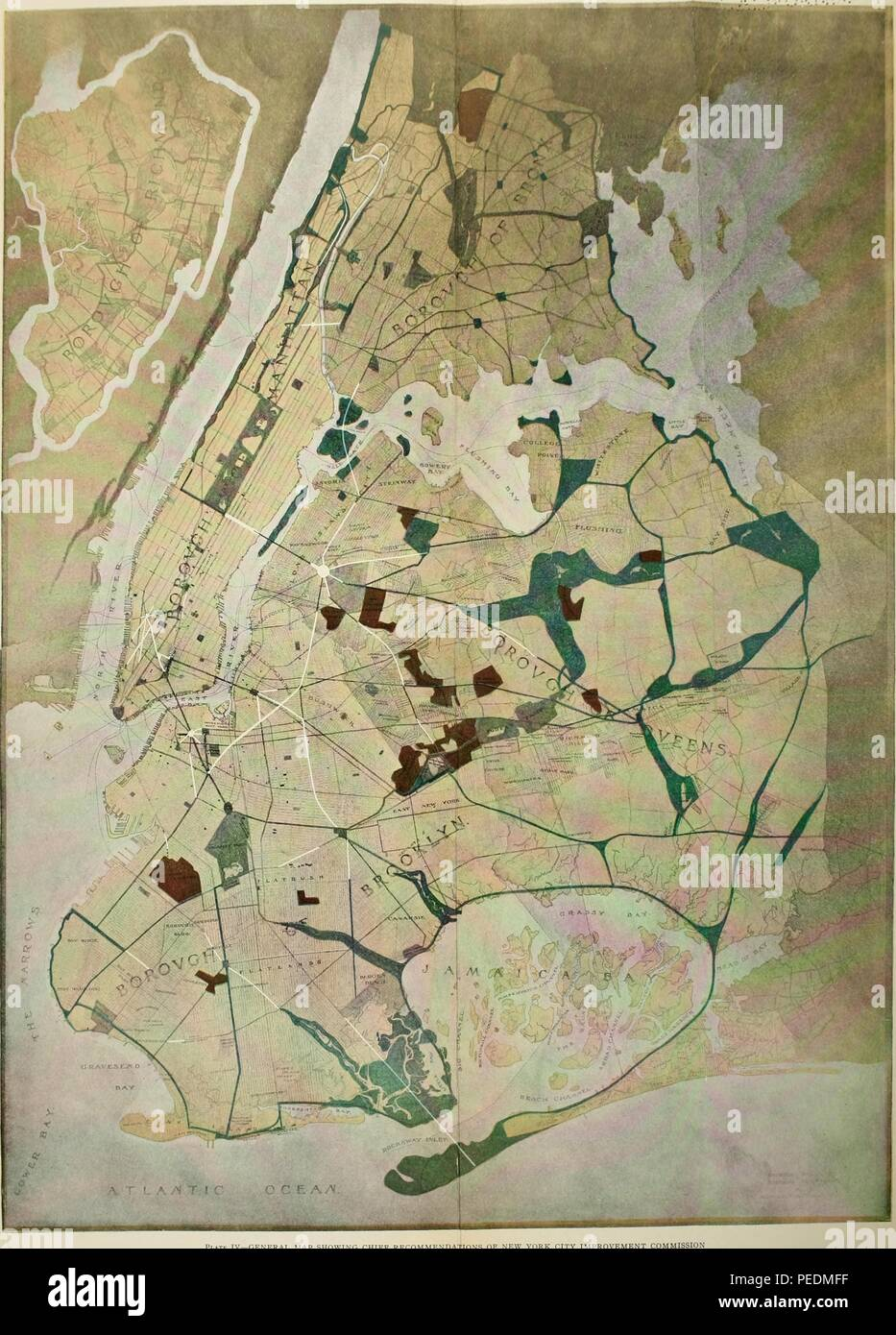 Engraved map of New York City indicating boroughs, some neighborhoods, and major geographic features/bodies of water, 1914. Courtesy Internet Archive. () - Stock Image