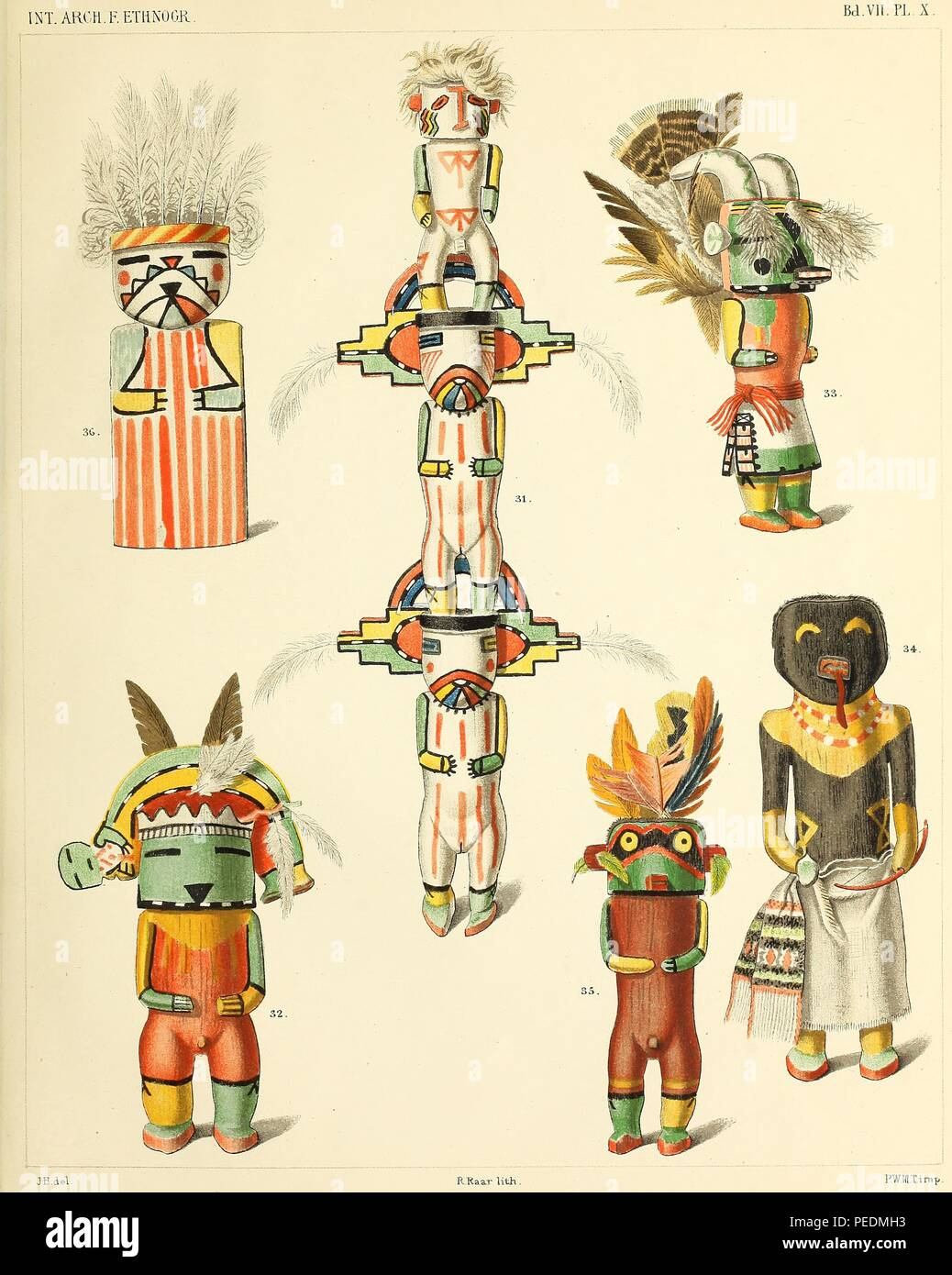 Color print, illustrating five small, colorful Kachina (likenesses of immortal spirits, messengers or personifications of nature) dolls or figures, made by Pueblo culture peoples as instructional gifts for children, 1894. Courtesy Internet Archive. () - Stock Image