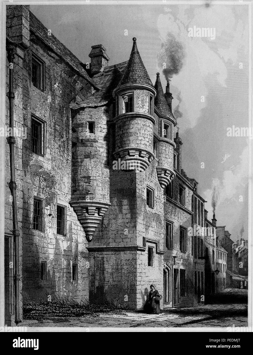 Black and white engraving, depicting an angled view of the medieval facade of 'School Hill' at The University and King's College of Aberdeen, located in Scotland, with a woman holding a basket in the foreground, drawn by RW Billings and engraved by J Sadler, 1845. Courtesy Internet Archive. () - Stock Image