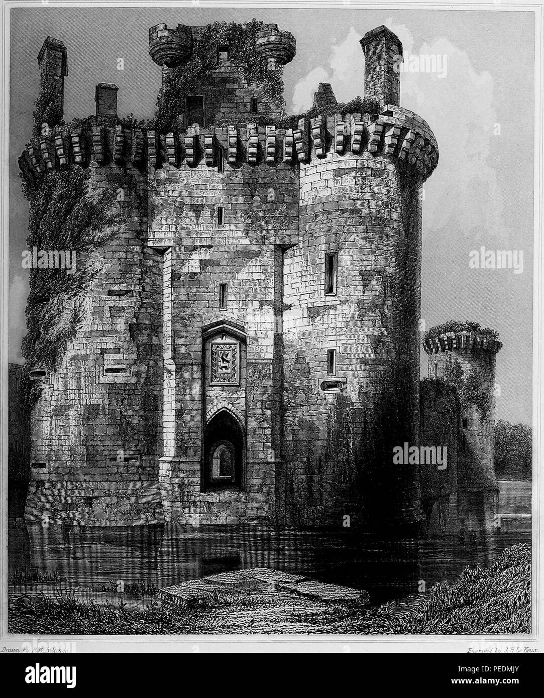 Black and white engraving, depicting the moat, entrance gateway and towers flanking the decaying facade of the 13th century 'Caerlaverock Castle, ' a moated, triangular castle located on the southern coast of Scotland, drawn by RW Billings and engraved by JH Le Keux, 1845. Courtesy Internet Archive. () - Stock Image