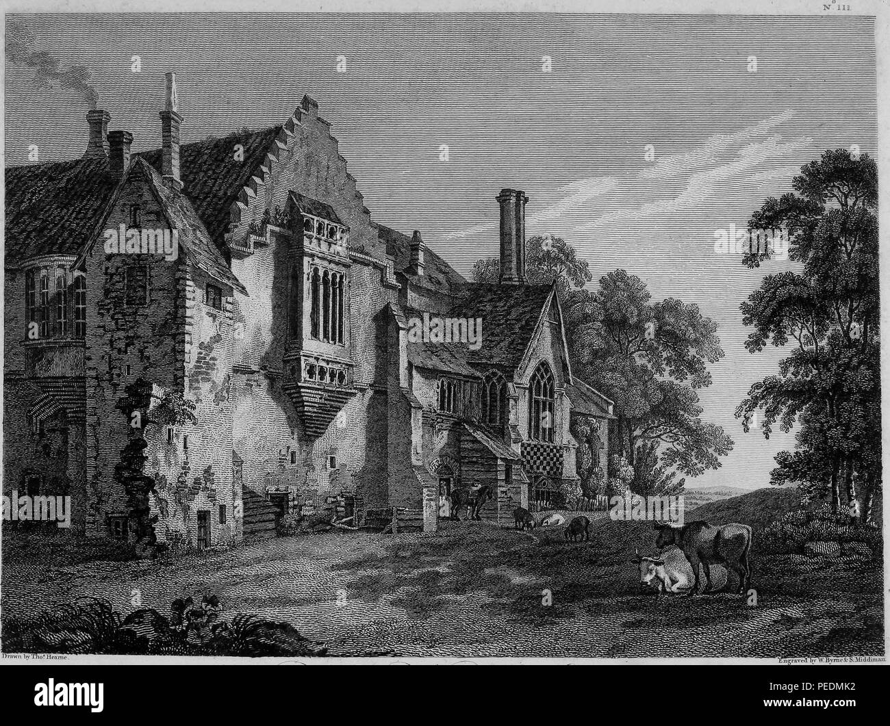 Black and white engraving, depicting an angled view of the decaying facade of 'Castle Acre Priory' a medieval, Cluniac priory located in Castle Acre, Norfolk, England, with cows and other livestock standing and sitting in the foreground, drawn by T Hearne and engraved by W Byrne and S Middiman, 1825. Courtesy Internet Archive. () Stock Photo
