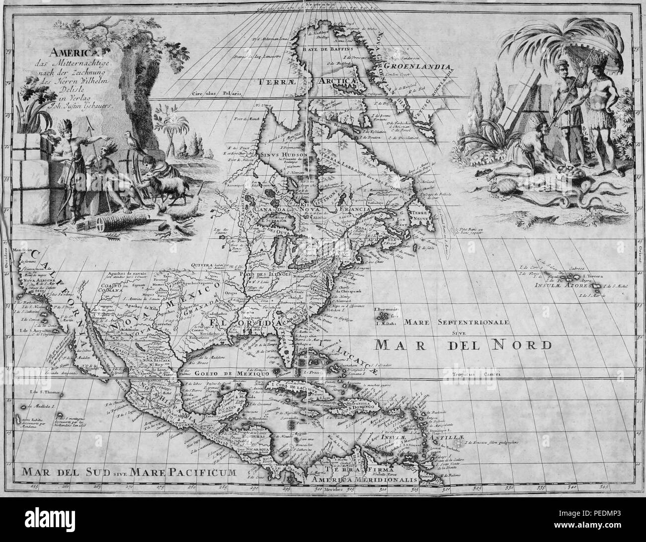 Black and white map of The Arctic, Greenland, North America, Central America, and the Caribbean islands, with place names, and illustrations at the upper left and right depicting two groups of indigenous peoples, 1825. Courtesy Internet Archive. () - Stock Image
