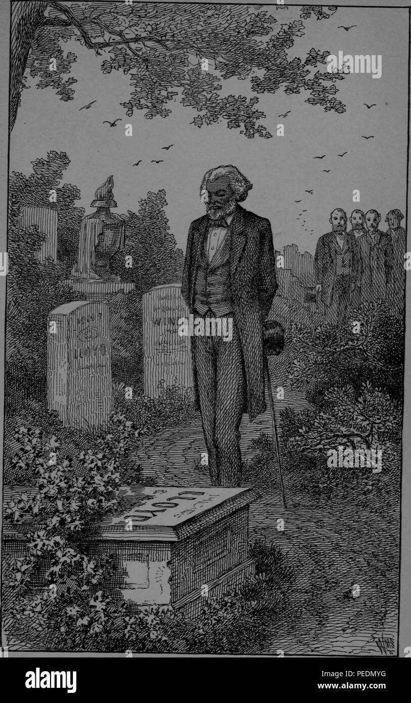 Black and white print depicting an elderly Frederick Douglass, wearing a suit and holding a cane and top hat, visiting the tomb of his former slave owner, Maryland Governor Colonel Edward Lloyd V, published in abolitionist, reform leader, writer, and statesman Frederick Douglass' memoir 'Life and times of Frederick Douglass', 1882. Courtesy Internet Archive. () - Stock Image
