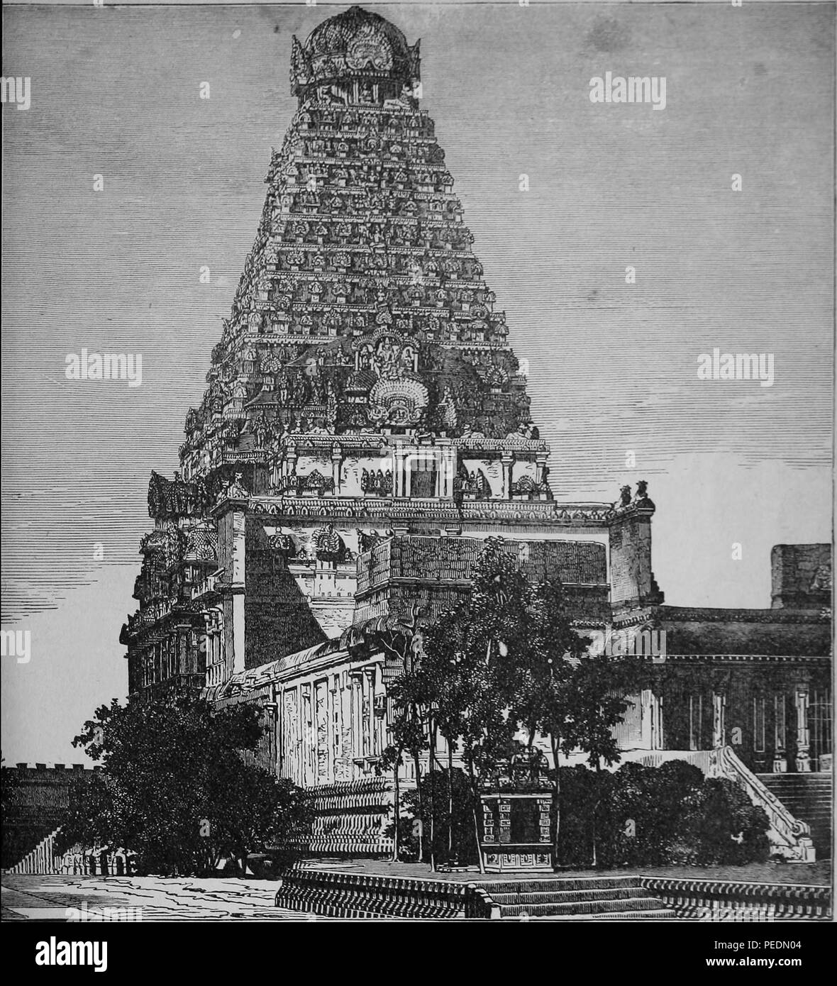 Black and white photograph of a large South Indian temple, possibly the Chola dynasty Brihadisvara Temple, located in Thanjavur, Tamil Nadu, India, 1884. Courtesy Internet Archive. () - Stock Image