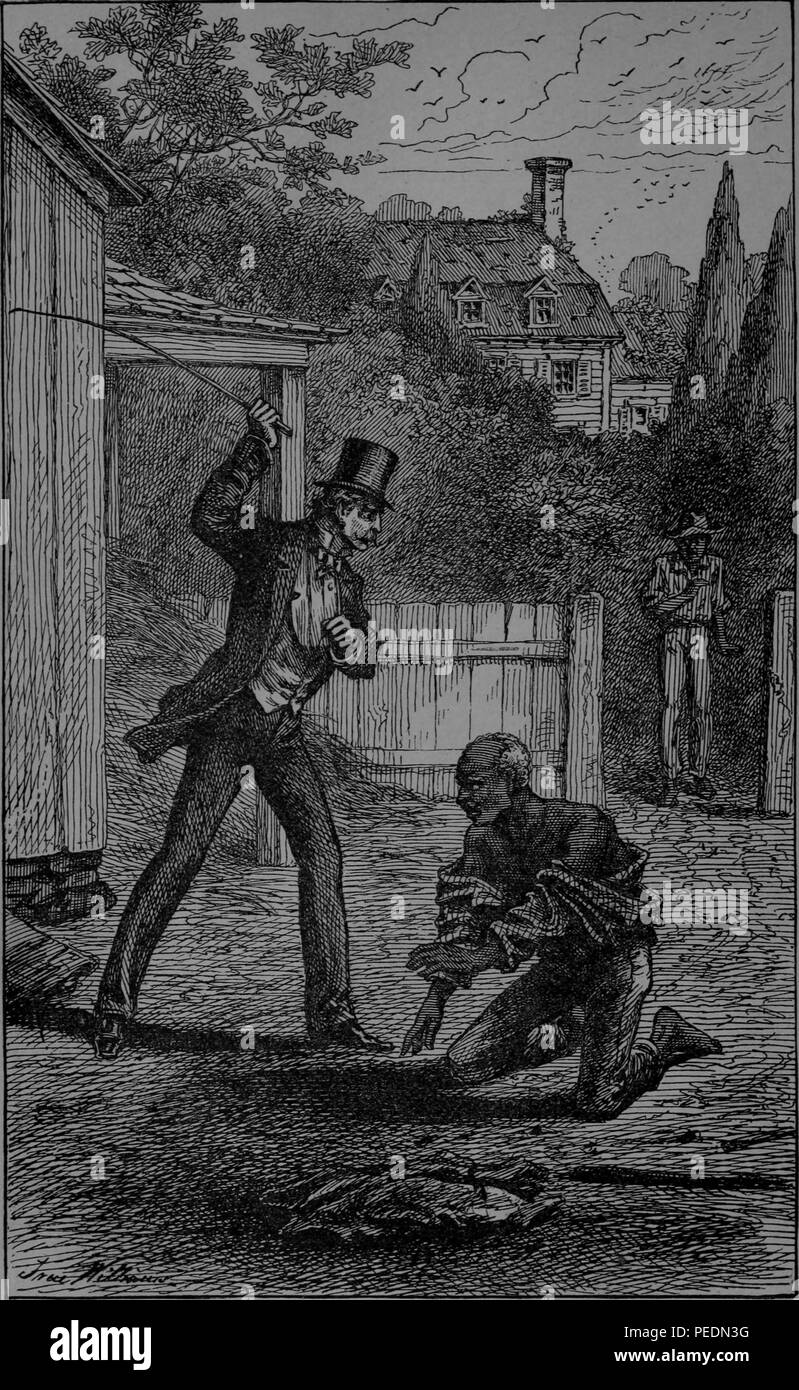 Black and white print depicting slave owner and Maryland Governor Colonel Edward Lloyd V, wearing a suit and top hat and wielding a cane to whip Barney, his Ferrier, and Ostler, who kneels on the ground with his shirt pulled down, published in abolitionist, reform leader, writer, and statesman Frederick Douglass' memoir 'Life and times of Frederick Douglass', 1882. Courtesy Internet Archive. () - Stock Image