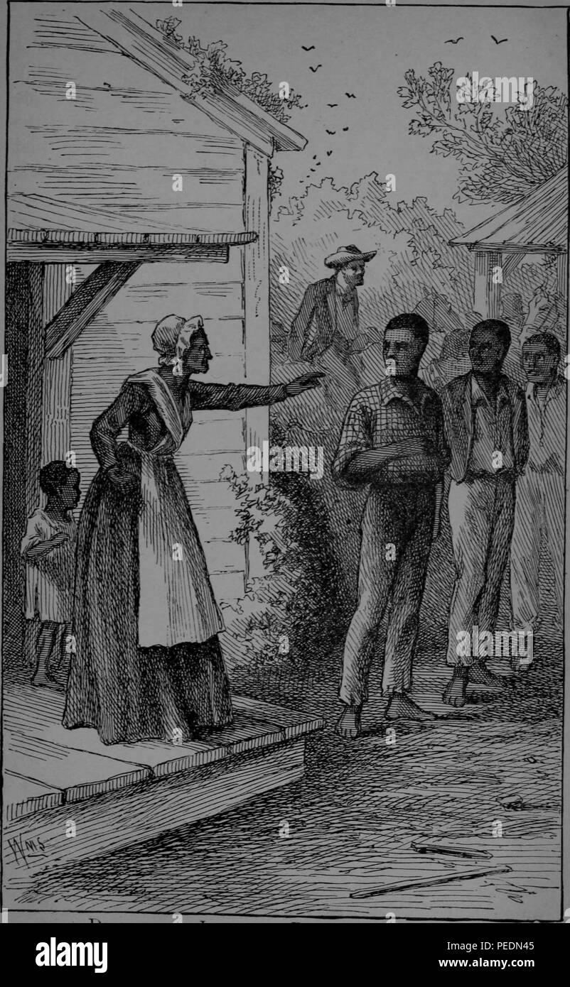 Black and white print depicting Mrs Betsey Freeland, a slim woman wearing a Victorian dress, white cap, and apron, pointing her finger as she chastises abolitionist, reform leader, writer, and statesman, Frederick Douglass, for encouraging several young men to try to run away from their slave owner, with a small boy behind her and three men at right, presumably with Douglass at center, shoeless and wearing a checked shirt, with a white man visible in the background, 1882. Courtesy Internet Archive. () - Stock Image