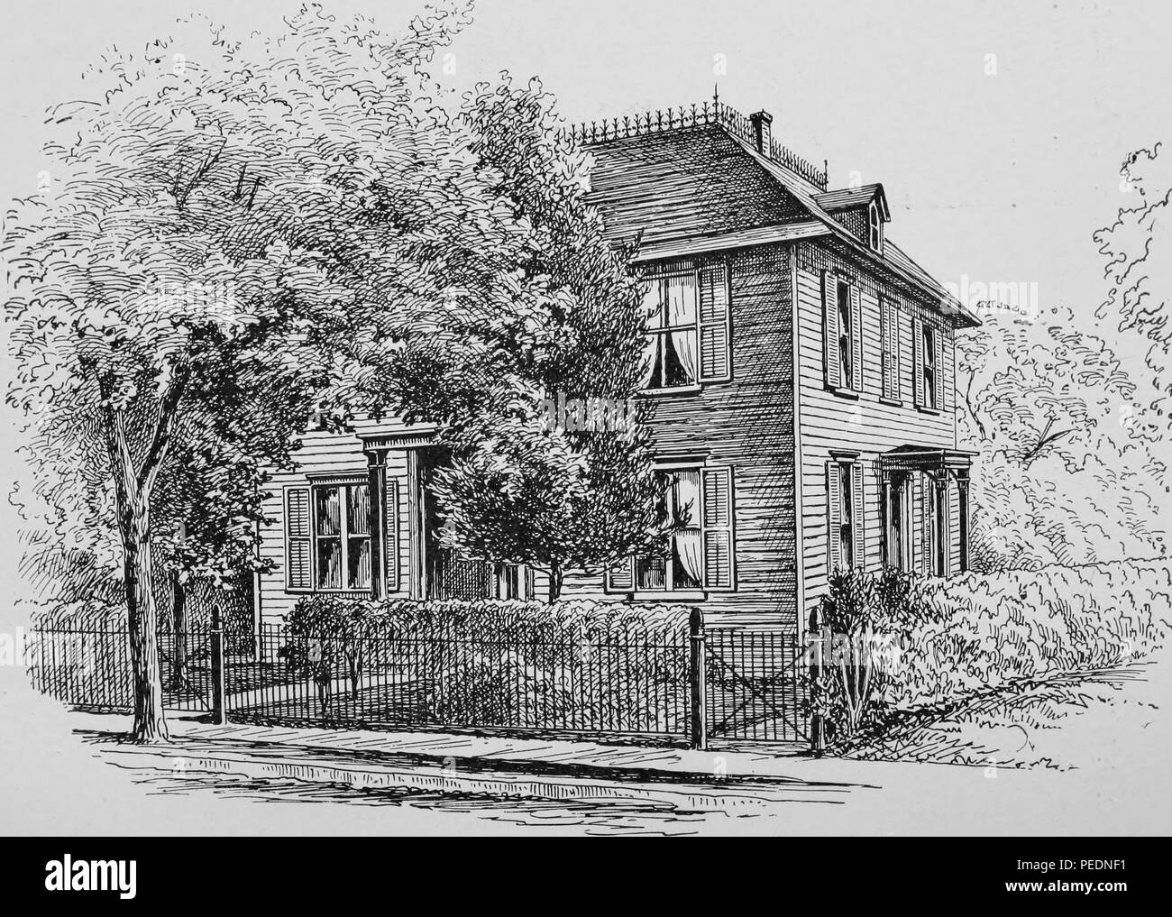 Black and white print illustrating Princeton University's 'Inn, ' a two-story, wood-paneled structure, with a mansard roof, depicted from an angle, with trees and shrubbery in the foreground and background, 1875. Courtesy Internet Archive. () - Stock Image