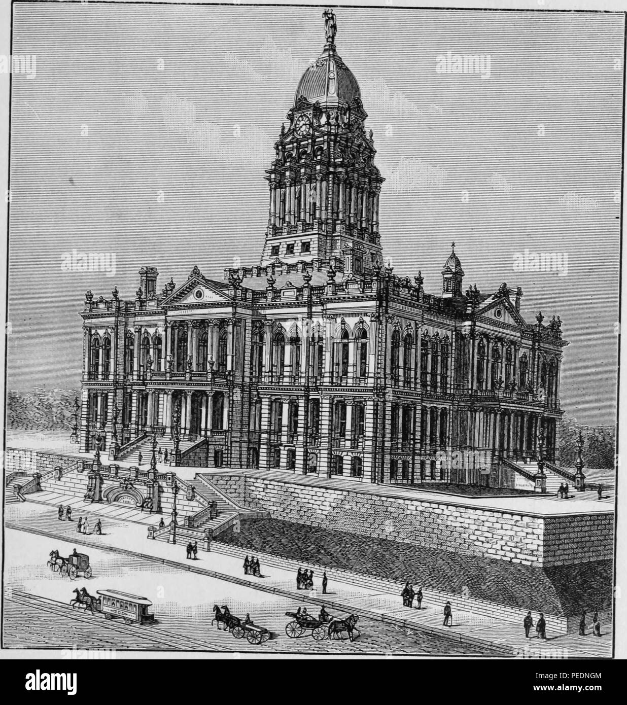 Black and white print illustrating an angled view of the Douglas County Courthouse, a multi-level French Renaissance Revival structure with a tall dome and elegant staircase, located in Omaha, Nebraska, 1887. Courtesy Internet Archive. () - Stock Image