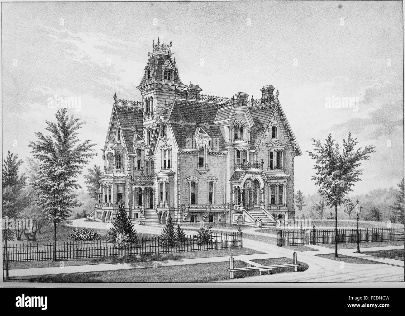 Black and white print depicting a large, brick Victorian mansion, likely located in the City of Lansing, in Ingham County, Michigan, 1880. Courtesy Internet Archive. () - Stock Image