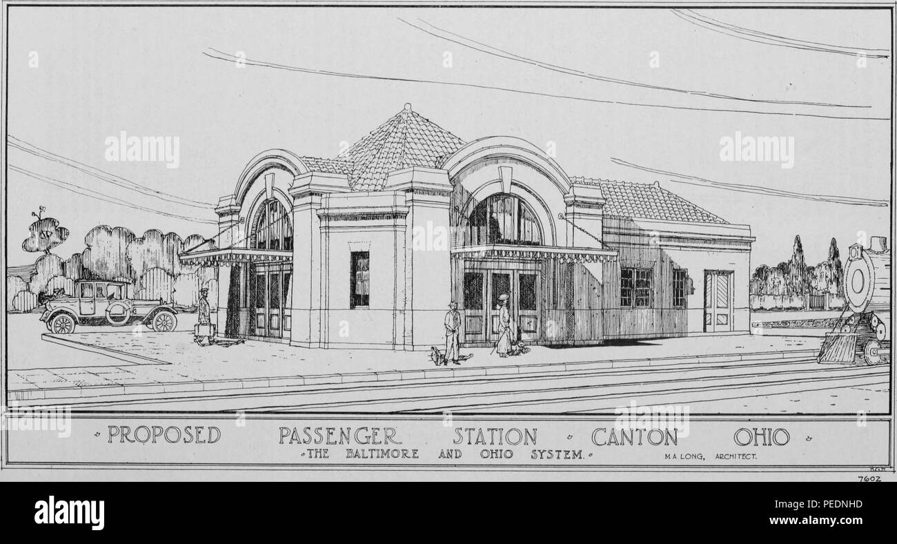 Black and white print depicting a Romanesque Revival railway station, with wide entrance arches and a barrel-tile roof, captioned 'proposed passenger station, ' designed by architect HA Long for the Canton, Ohio stop along the Baltimore Ohio Railway System, 1912. Courtesy Internet Archive. () - Stock Image