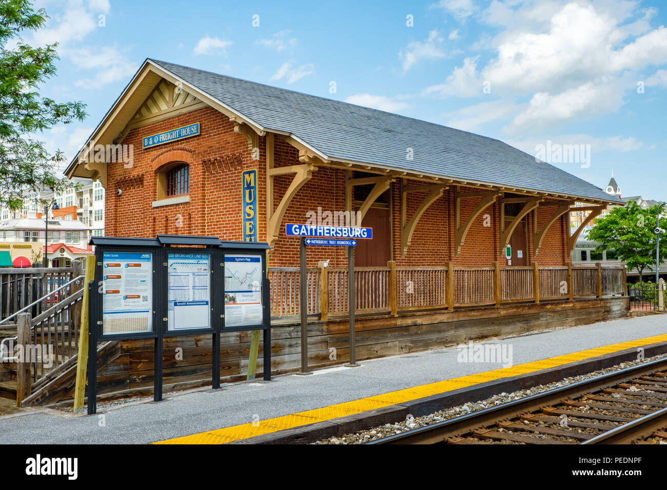 Freight Shed, Gaithersburg Railroad Station, 5 South Summit Avenue, Gaithersburg, Maryland - Stock Image