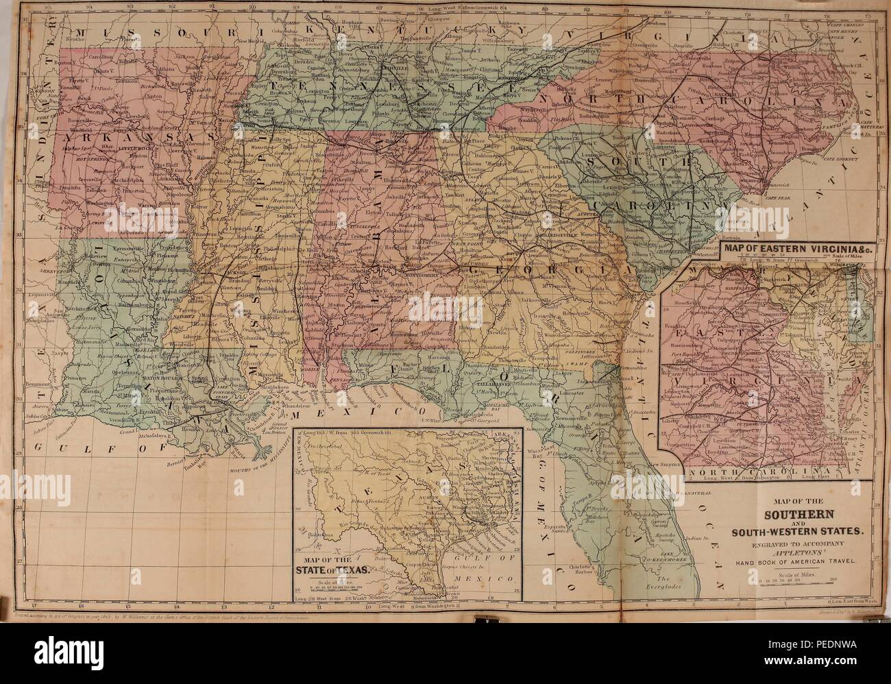 Physical Map Of Texas.Color Political And Physical Map Of The Southern And South Western