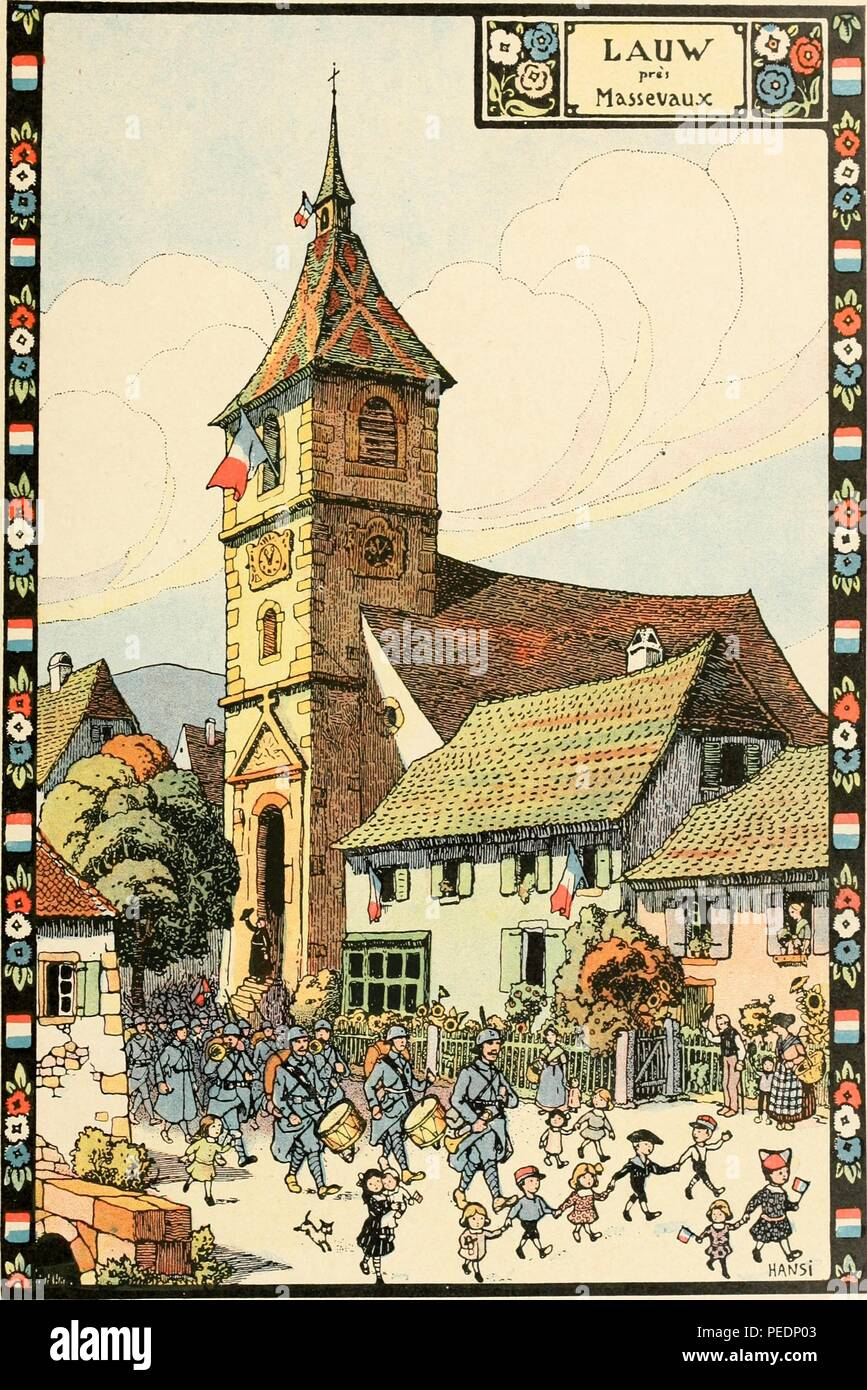Colorful print showing a small French town, bedecked with French flags, and populated with waving people, and happy children who walk in front of a long column of soldiers, some with drums and horns, who are marching through the town of Lauw, near Massevaux in north-eastern France, 1918. Courtesy Internet Archive. () - Stock Image