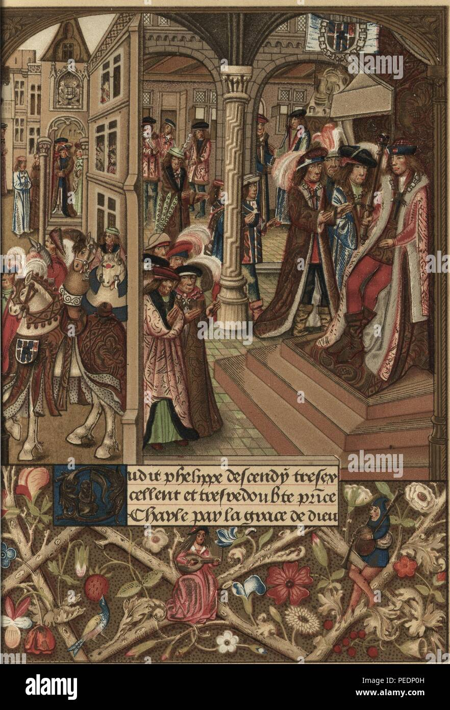 Color print of fifteenth-century ruler, Charles the Bold, Duke of Burgandy, seated on his throne (at right) with his barons and councilors crowded next to him and at the base of the steps, with medieval architecture, horses, and people in the background, and marginalia in the lower register, after an original miniature painting from the manuscript Chroniques abregees des Anciens Rois et Ducs de Bourgogne, 1870. Courtesy Internet Archive. () - Stock Image