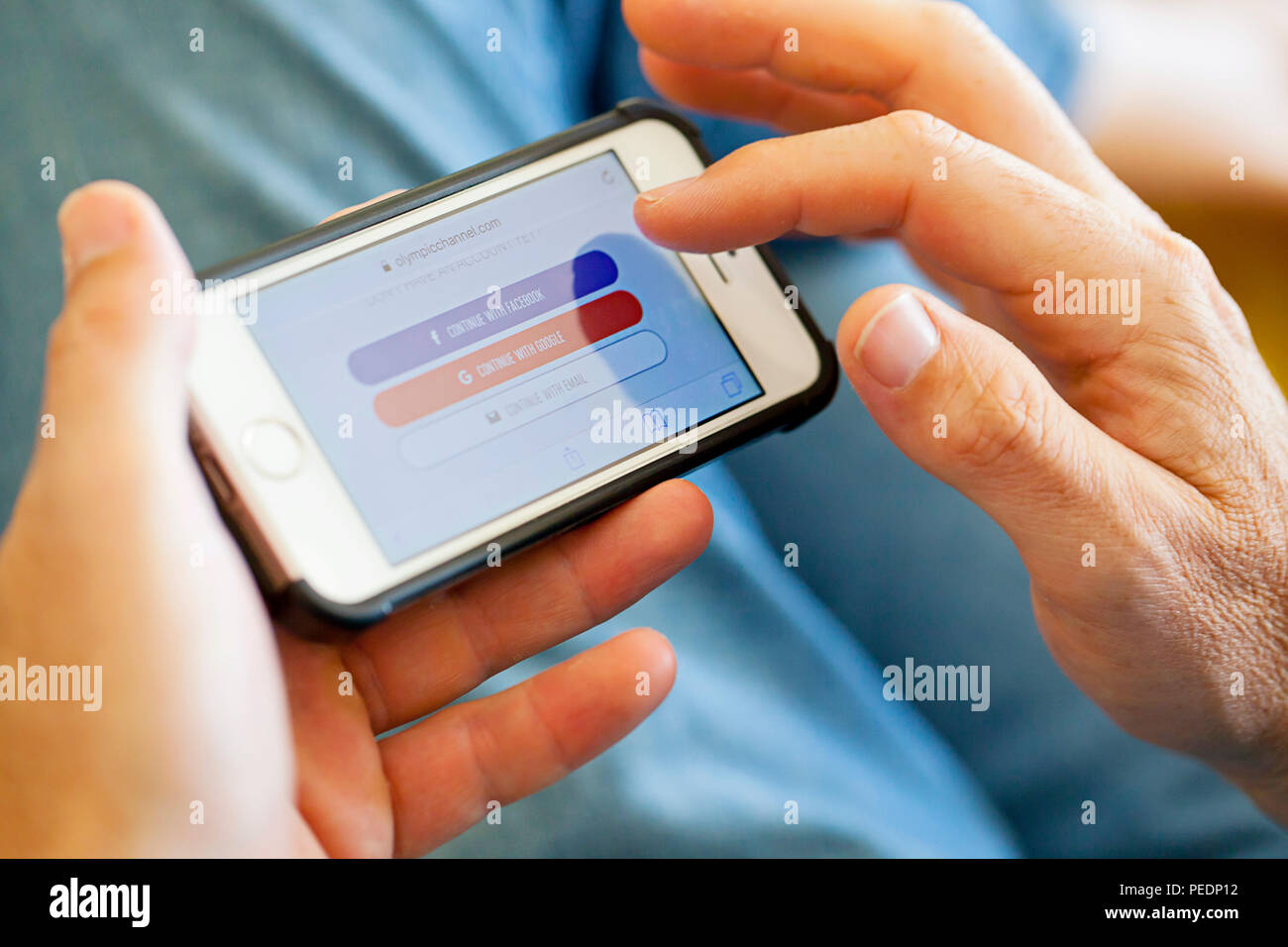 Sign in screen options on iphone screen - Stock Image