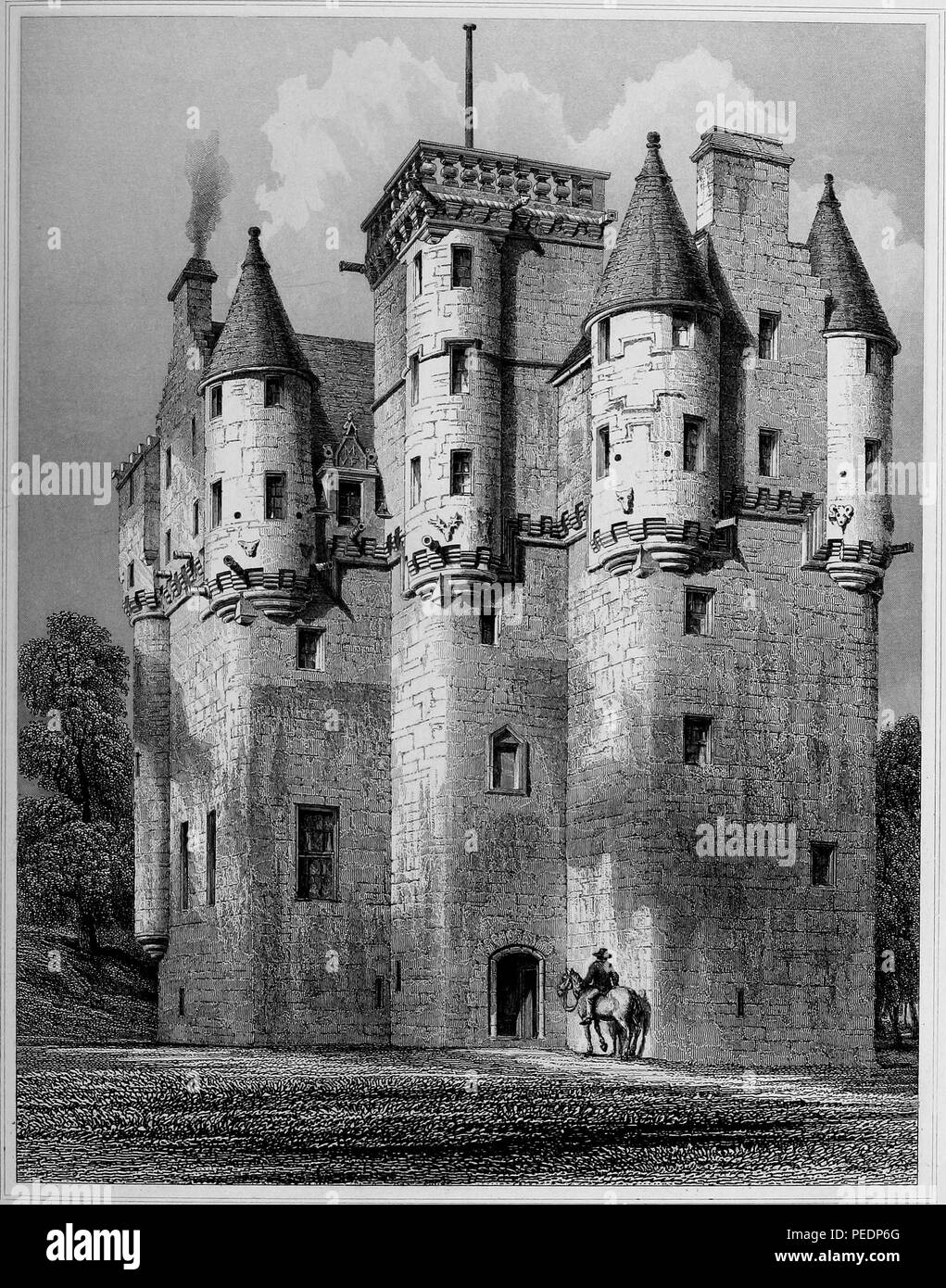 Black and white print showing a view of 'Craigievar Castle, ' a Scottish baronial style structure with multiple turrets and a harled (plastered) exterior, located in Alford, Aberdeenshire, Scotland, with a man on horseback in the foreground, engraved by JH Le Keux after a drawing by RW Billings, 1845. Courtesy Internet Archive. () - Stock Image