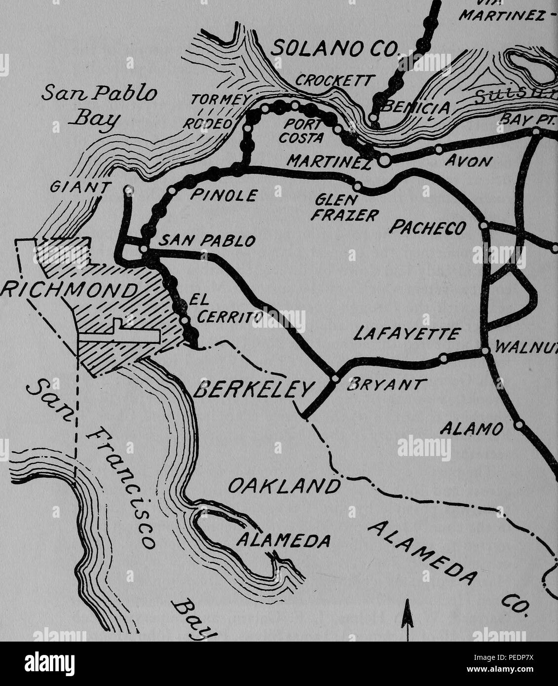 Pacheco California Map.Black And White Highway Map Showing The Early 20th Century State And