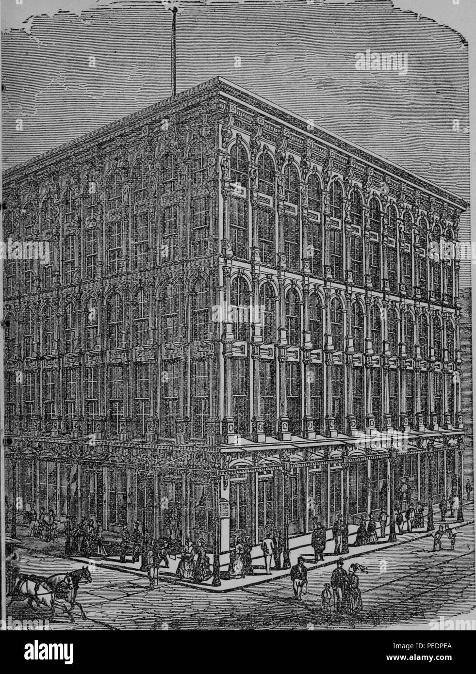 Black and white print depicting the Sun Iron Building, with people in Victorian dress on the sidewalk in the foreground, built in the Classical Revival style with tall arches and engaged columns, the building housed the offices of the Daily and Weekly Sun Newspaper, located on the SE Corner of Baltimore and South Streets, in Baltimore, Maryland, USA, published in John T King's 'Guide to Baltimore and Ohio Railroad', 1874. Courtesy Internet Archive. () - Stock Image