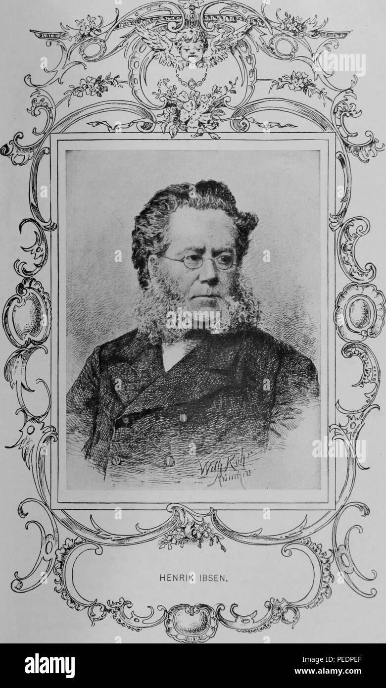 Black and white print depicting the father of theatrical realism, Norwegian playwright, poet, and theatre director, Henrik Johan Ibsen, shown from the chest up, with a long, bushy, muttonchop beard, wire-rimmed glasses, a double-breasted jacket, and a serious expression on his face, published in the volume 'Library of the World's Best Literature, Ancient and Modern', 1902. Courtesy Internet Archive. () - Stock Image