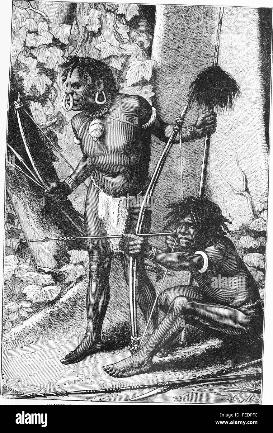 Black and white print depicting a pair of Papuan men, both armed with bows, arrows, and spears, and wearing loincloths and bracelets, the standing man wears a large shell necklace, earrings and a nose ring, drawn by E Mesples from an original photograph, and published in John Clark Ridpath's volume 'Ridpath's Universal history', 1897. Courtesy Internet Archive. () Stock Photo