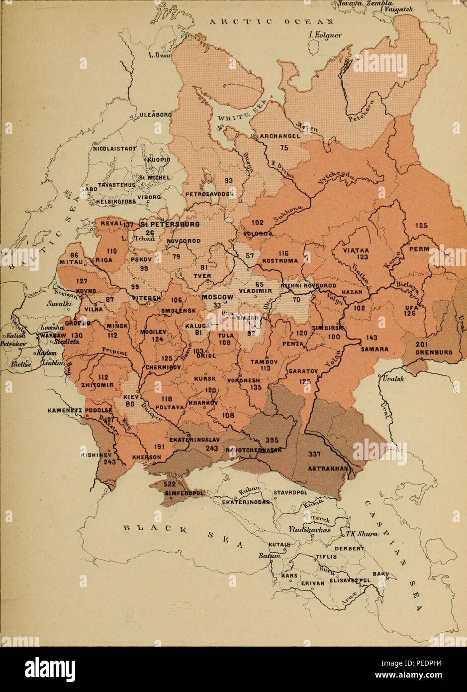 Color coded map showing Russian agriculture, including the number of cattle per capita, for various regions, 1893. Courtesy Internet Archive. () - Stock Image