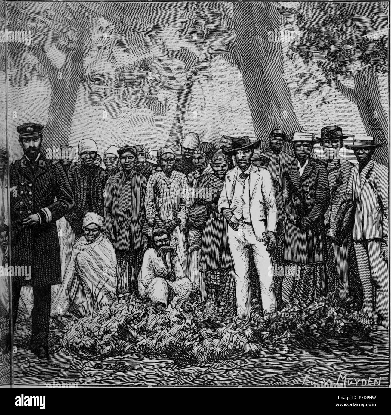 Right half of a larger black and white print illustrating members of an expedition travelling to the Cape of Good Hope, a peninsula on the Atlantic side of South Africa, with a European captain in the foreground, and a large group of both African men and women standing in a line behind him, with several more Africans seated at midground, from the volume 'De Angola a contra-costa, descripcao de uma viagem atravez do continente africano', part of the infamous Triangle Trade, 1886. Courtesy Internet Archive. () - Stock Image