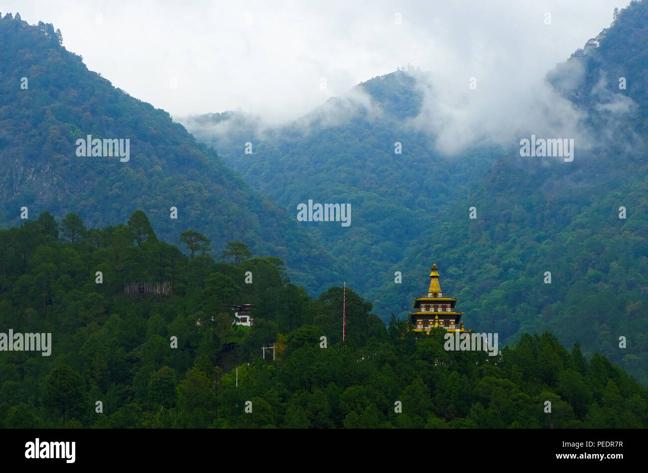 Photo taken in Bhutan and showing unique culture and reiligion. Stock Photo