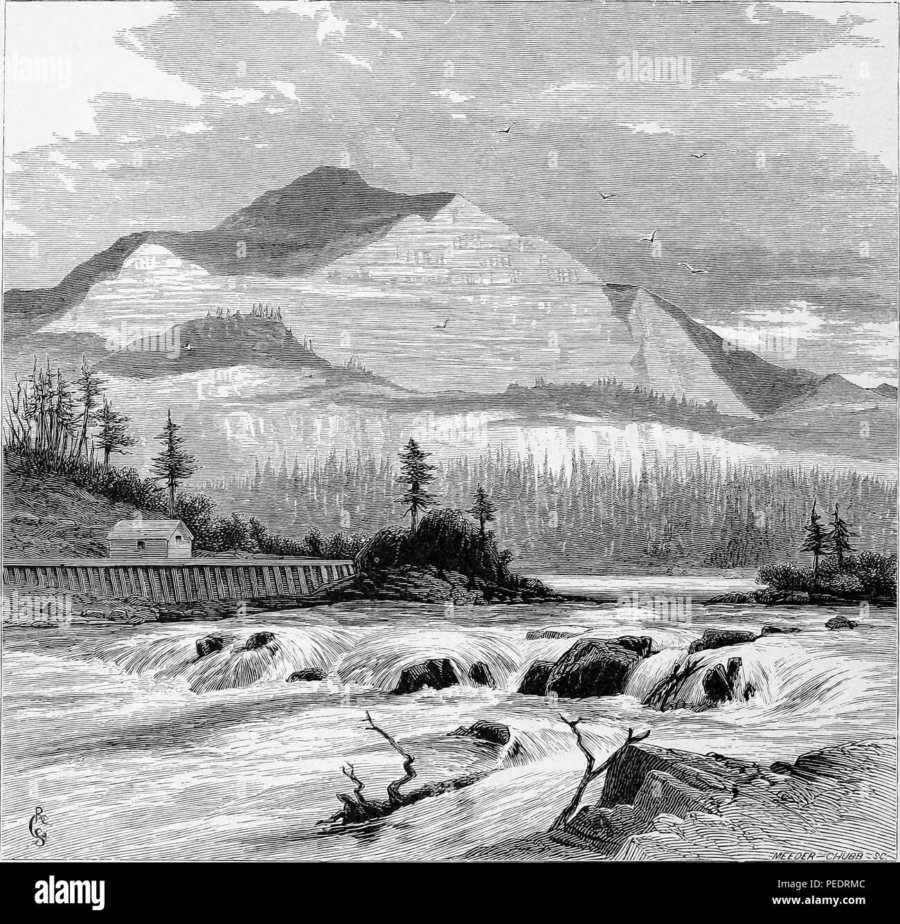 Black and white vintage print depicting the Columbia River's Cascades Rapids section, with a small, wooden building at midground and the Cascade Mountains rising in the background, located between the states of Washington and Oregon, in the USA, and published in William Cullen Bryant's edited volume 'Picturesque America; or, The Land We Live In', 1872. Courtesy Internet Archive. () Stock Photo