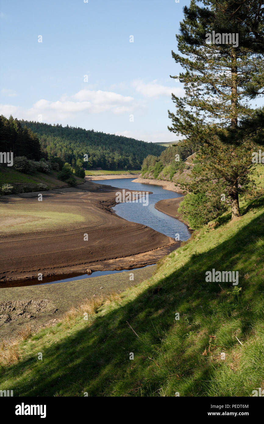 Howden Reservoir in dry weather, Derbyshire England UK - Stock Image