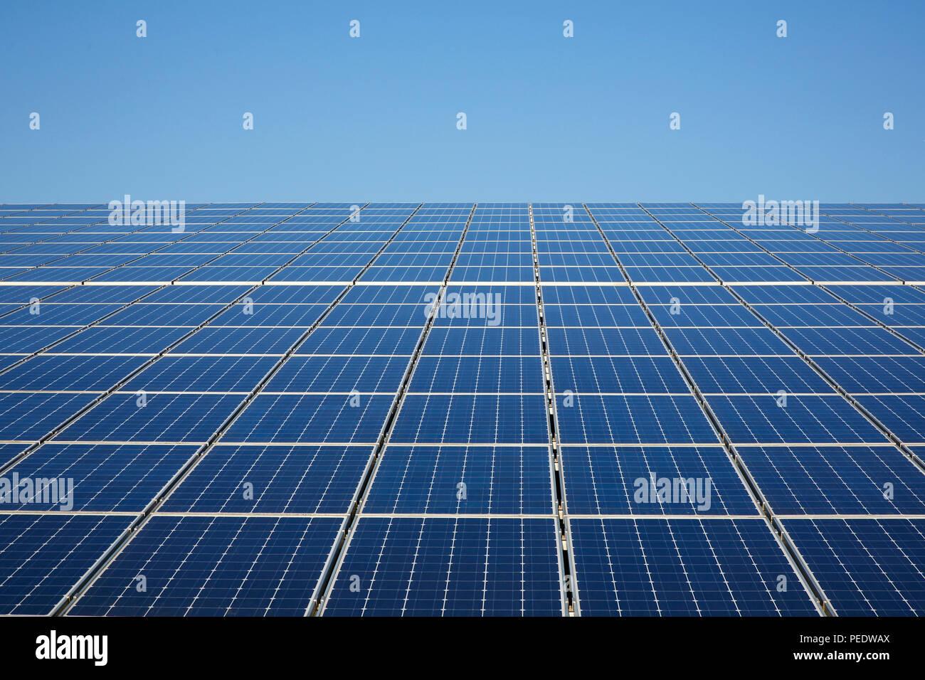 Solaranlage, Solarzellen auf Dach, Dithmarschen, Schleswig-Holstein, Deutschland - Stock Image