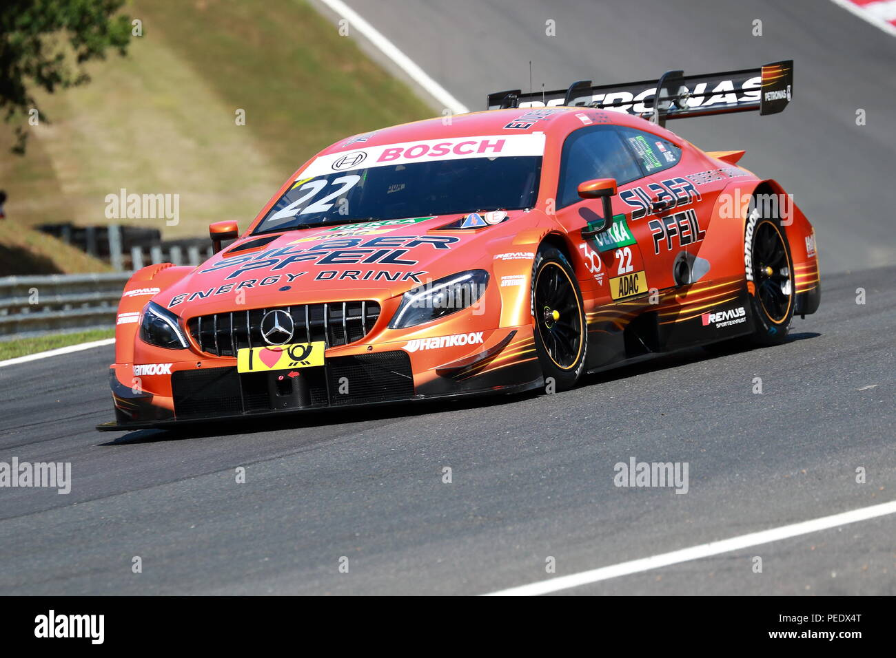 Lucas Auer in his Mercedes at the DTM Race 2018 at Brands Hatch Circuit, UK - Stock Image