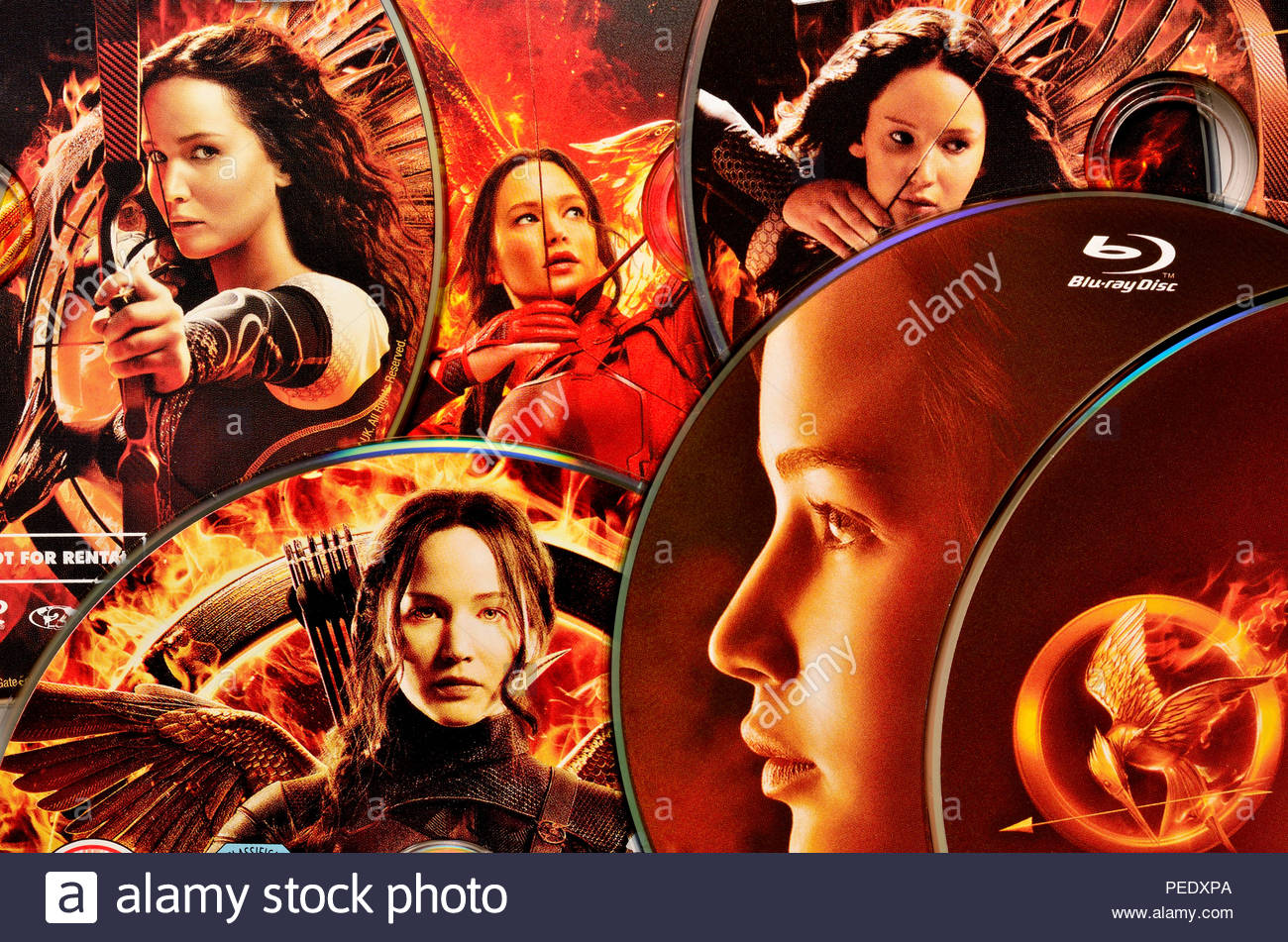 Hunger Games films on DVD - Stock Image