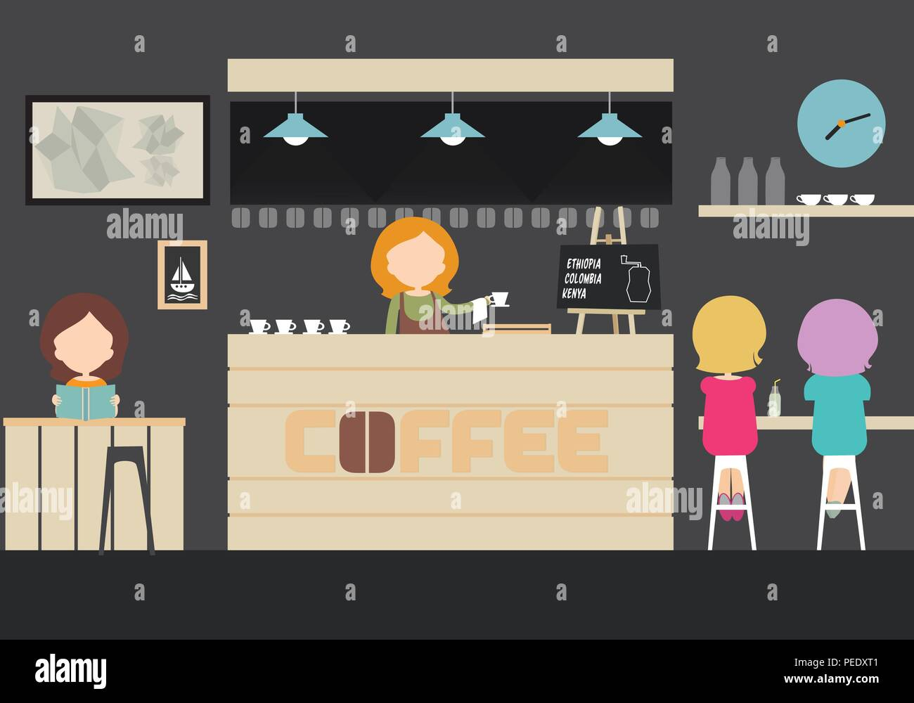 Vector illustration of an interior of a café, bar or restaurant with tables, chairs and lamp with clocks, cafeteria guests, women - flat design - Stock Vector