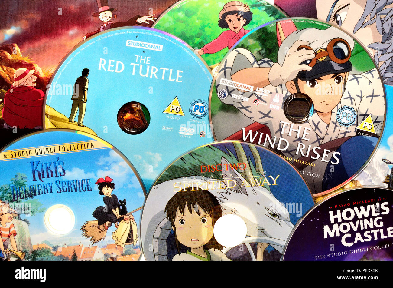 Japanese animated films on dvd stock image