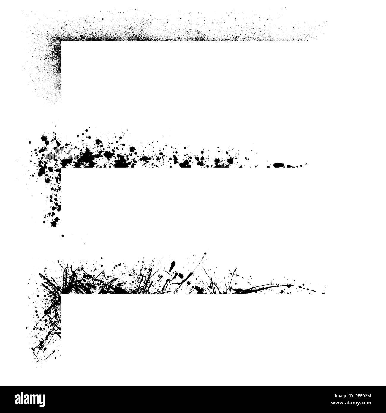 Set of three ink blots grunge corner frames isolated on white ...