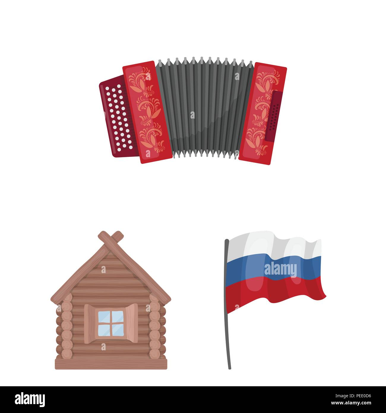 Country Russia, travel cartoon icons in set collection for design. Attractions and features vector symbol stock  illustration. - Stock Vector