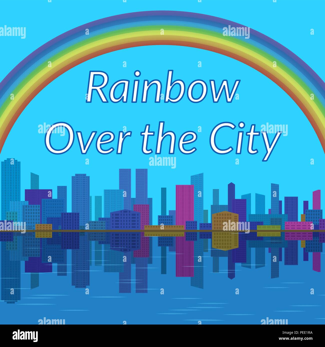Landscape, Rainbow and City - Stock Vector